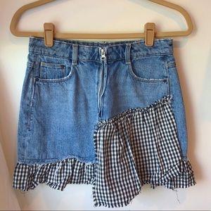 ZARA - denim skirt with gingham trim *Size Small*